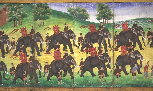 Parabeik illustrating royal scenes (18th century): illustrated books called parabeiks are a traditional part of Myanmar's culture and this one is full of dazzling images of the royal court and army including this brilliantly painted parade of military elephants. Photograph: @ Bodleian Libraries, University of Oxford